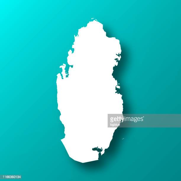 qatar map on blue green background with shadow - qatar stock illustrations