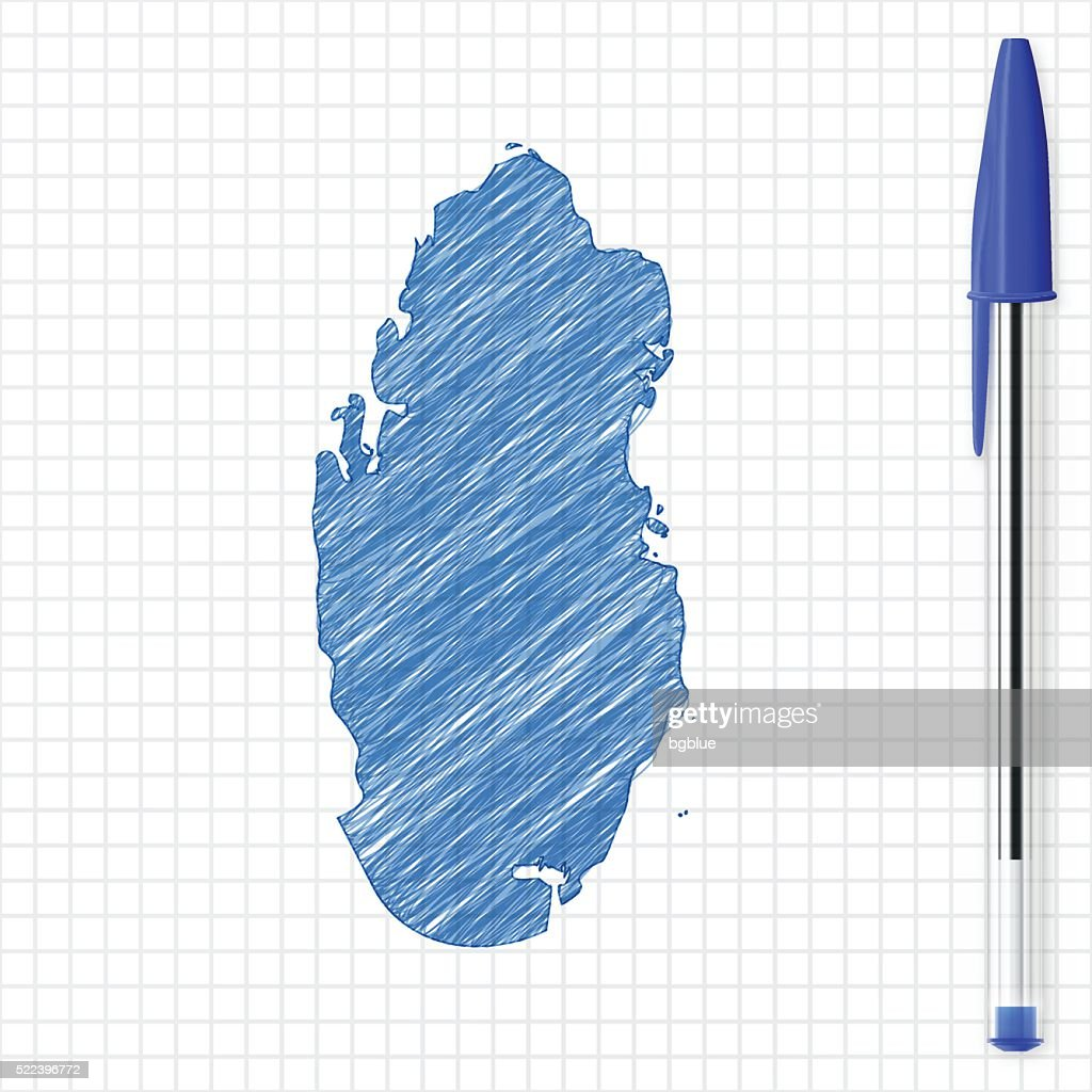 Qatar map sketch on grid paper, blue pen : stock illustration