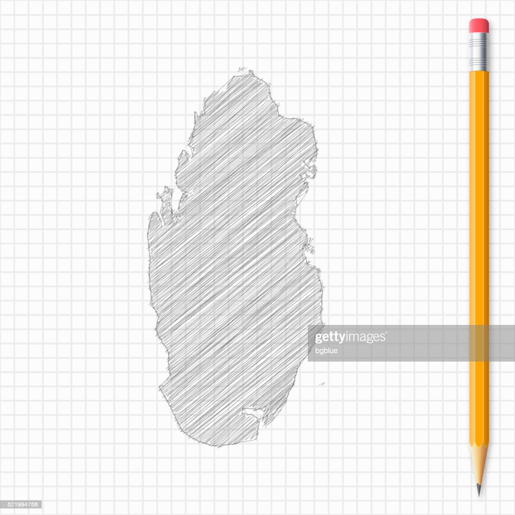 Qatar map sketch with pencil on grid paper : stock illustration