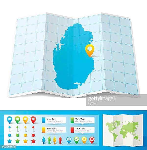 qatar map with location pins isolated on white background - qatar stock illustrations, clip art, cartoons, & icons