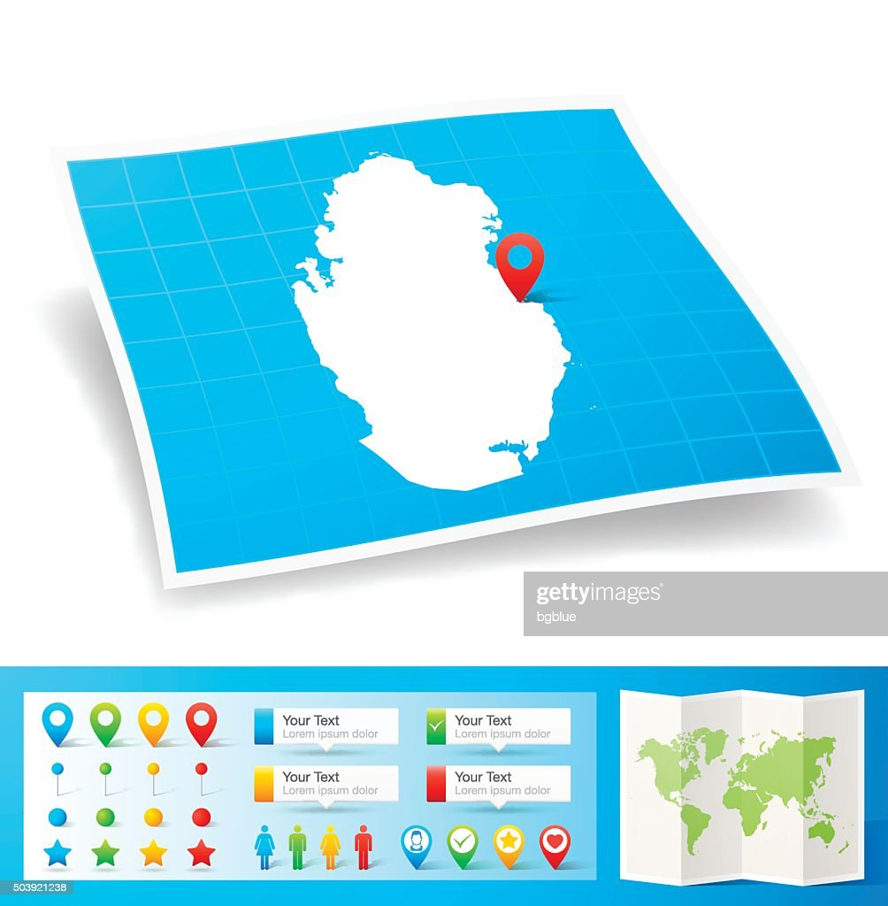 Qatar Map with location pins isolated on white Background : stock illustration