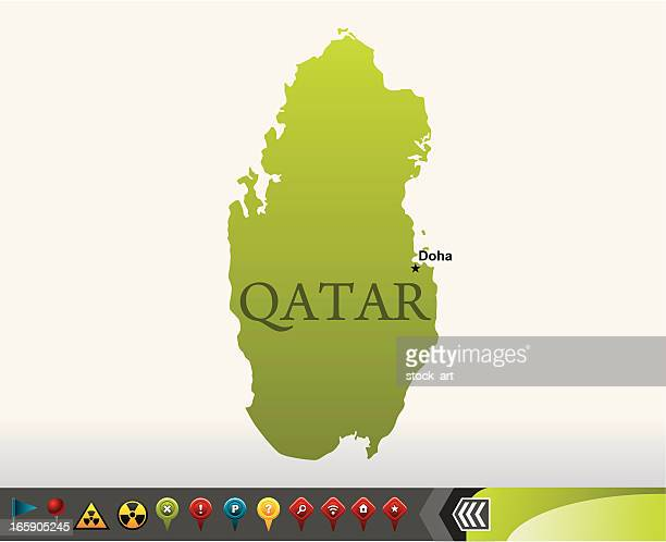 Qatar map with navigation icons