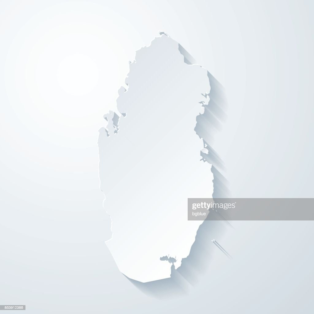 Qatar map with paper cut effect on blank background : stock illustration