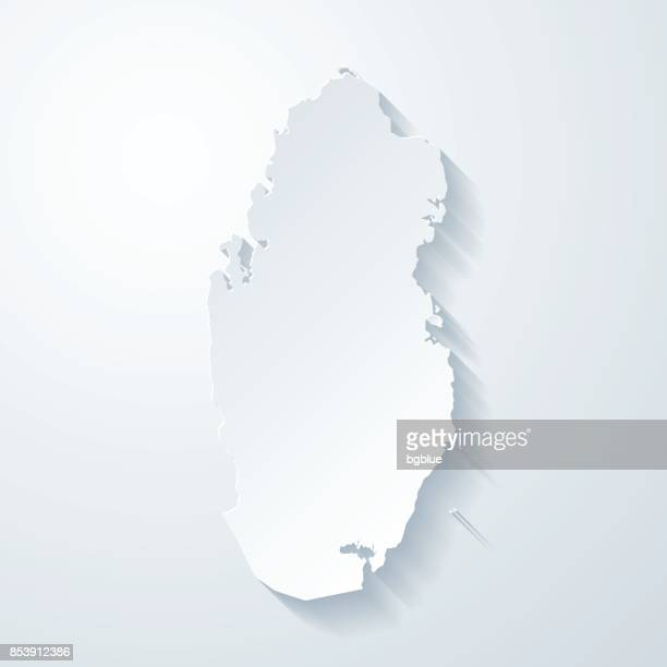 qatar map with paper cut effect on blank background - qatar stock illustrations, clip art, cartoons, & icons