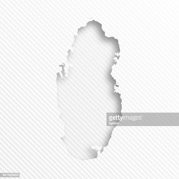 Qatar map with paper cut on abstract white background