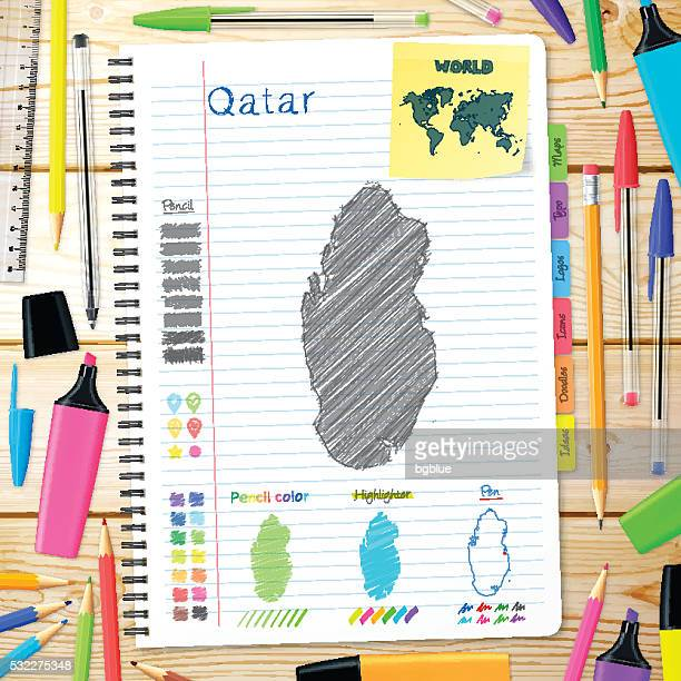 qatar maps hand drawn on notebook. wooden background - qatar stock illustrations, clip art, cartoons, & icons