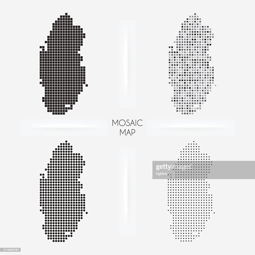 Qatar maps - Mosaic squarred and dotted : stock illustration