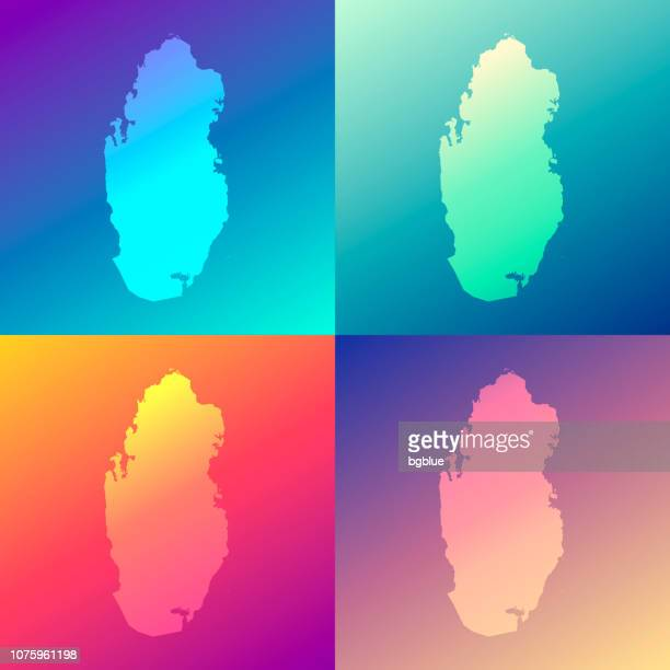 Qatar maps with colorful gradients - Trendy background
