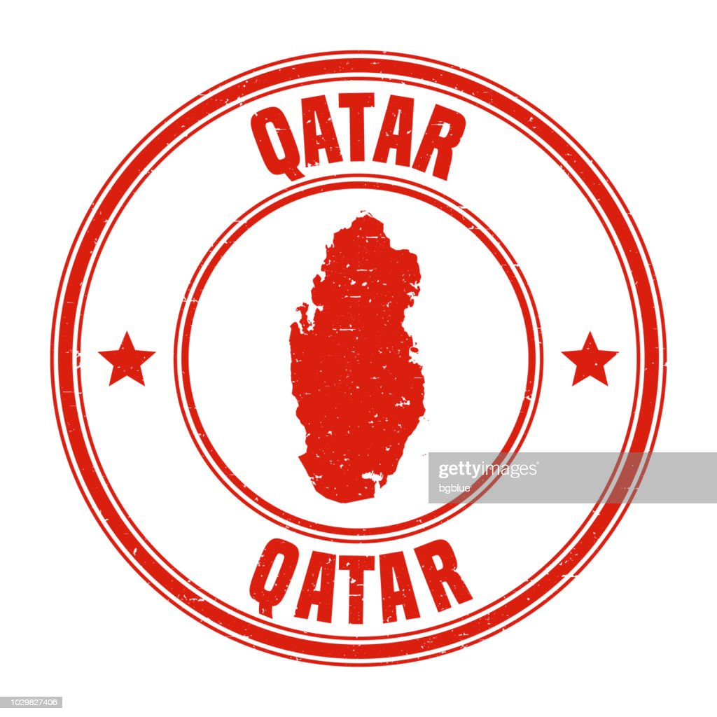 Qatar - Red grunge rubber stamp with name and map : stock illustration