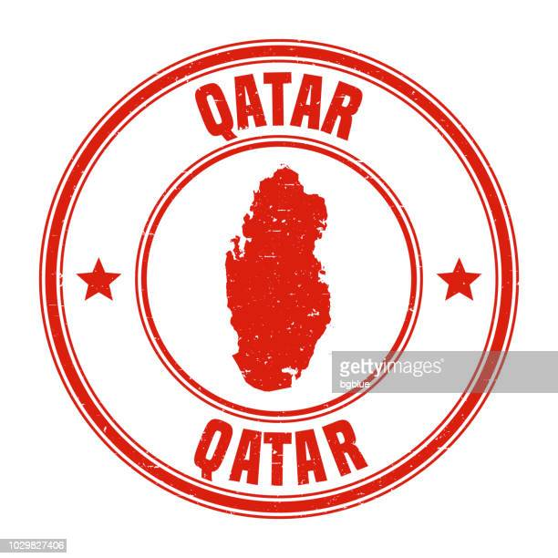 qatar - red grunge rubber stamp with name and map - qatar stock illustrations, clip art, cartoons, & icons