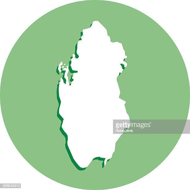qatar round map icon - qatar stock illustrations, clip art, cartoons, & icons