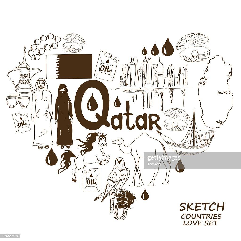 Qatar symbols in heart shape concept