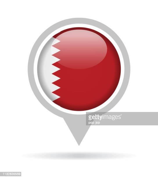 ilustrações, clipart, desenhos animados e ícones de qatar-ícone lustroso do pin da bandeira redonda do vetor - qatar