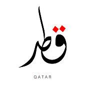 Qatar Word in arabic calligraphy-Vector Illustration.