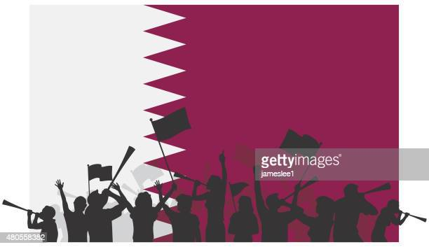 ilustrações, clipart, desenhos animados e ícones de os fãs de futebol do qatar - qatar