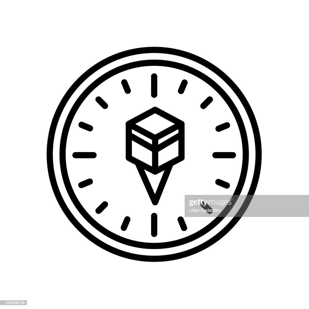 Qibla icon isolated on white background