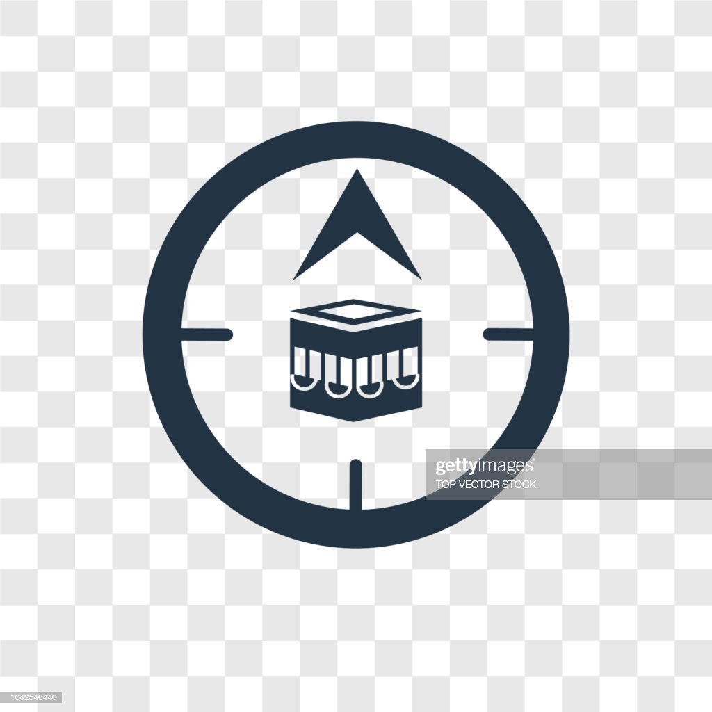 Qibla vector icon isolated on transparent background, Qibla transparency logo design