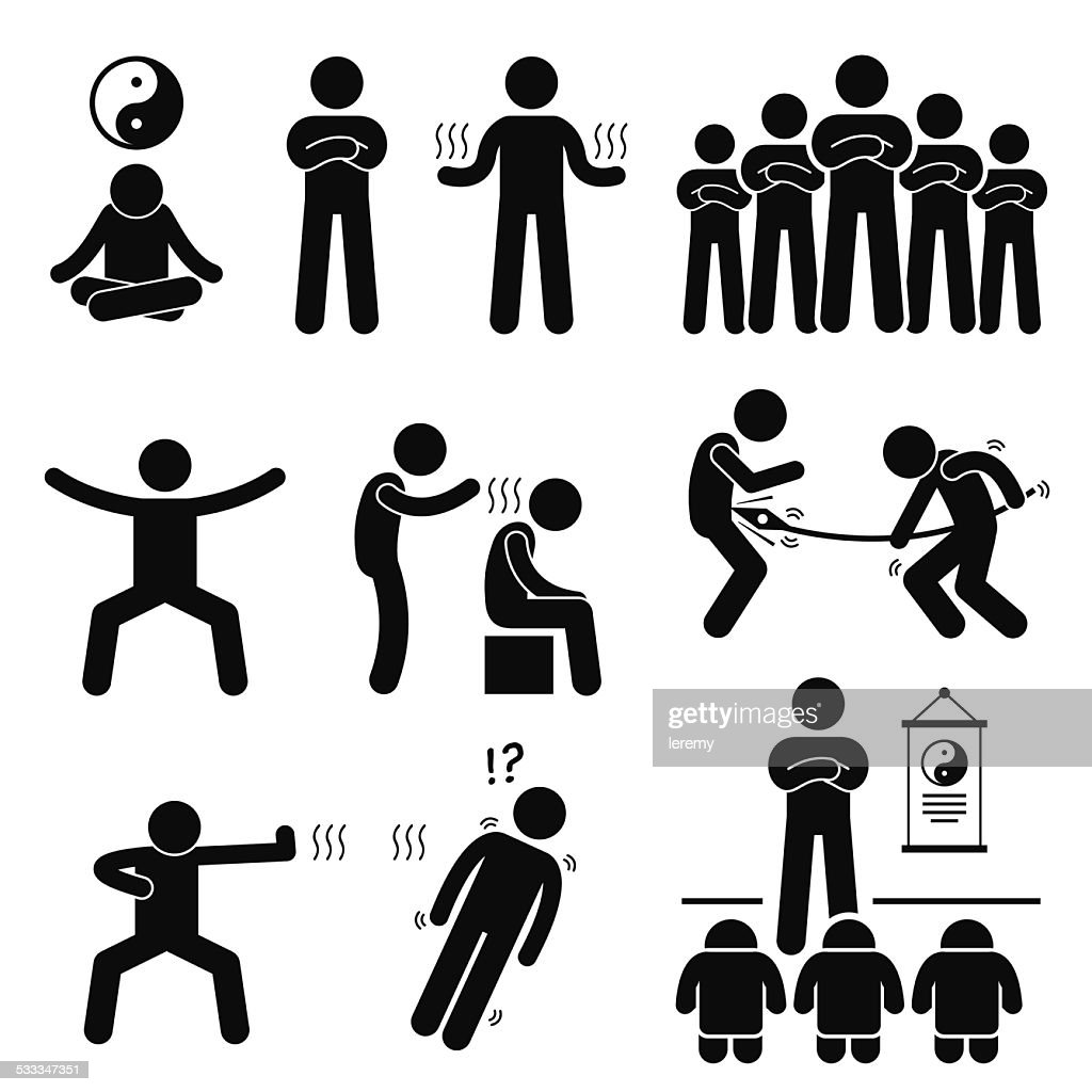 Qigong Qi Energy Power Stick Figure Pictogram Icons
