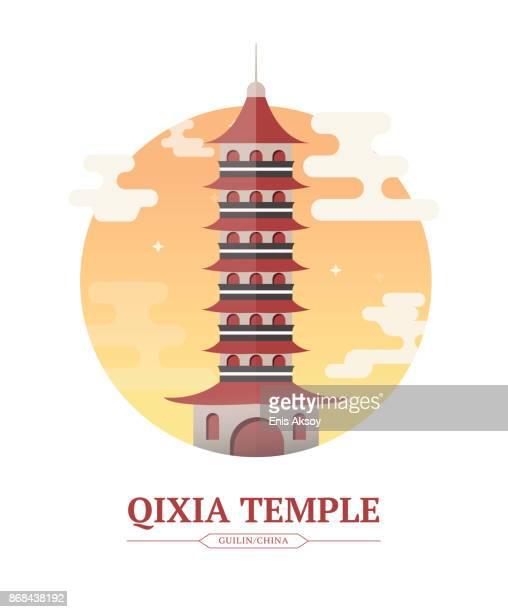 qixia temple - temple building stock illustrations, clip art, cartoons, & icons
