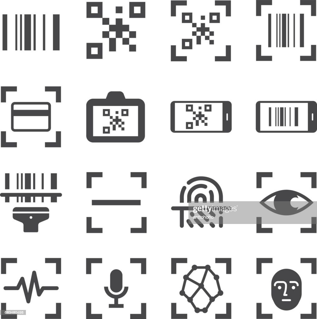 qr code scanner and bar code scan vector line icon set. Included the icons as qr code, bar code, scanner, fingerprint scan and more.