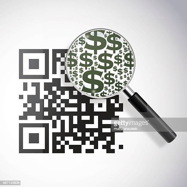 qrcode with magnifying lens and dollar signs - money to burn stock illustrations, clip art, cartoons, & icons