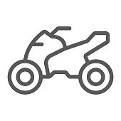 Quadbike line icon, bike and extreme, ATV motorcycle sign, vector graphics, a linear pattern on a white background.