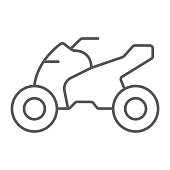 Quadbike thin line icon, bike and extreme, ATV motorcycle sign, vector graphics, a linear pattern on a white background.