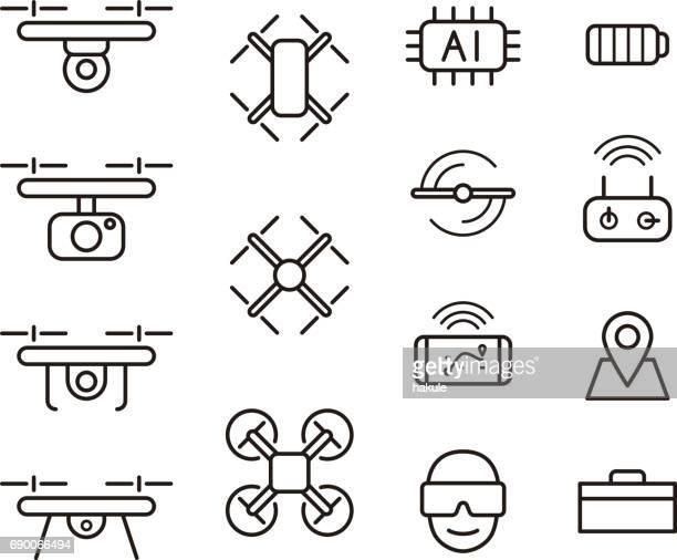 ilustraciones, imágenes clip art, dibujos animados e iconos de stock de quadcopter y los iconos de drone volando en estilo de línea, ilustración vectorial - drone