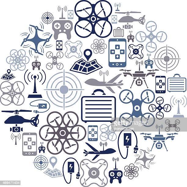 ilustraciones, imágenes clip art, dibujos animados e iconos de stock de collage de quadcopter - drone