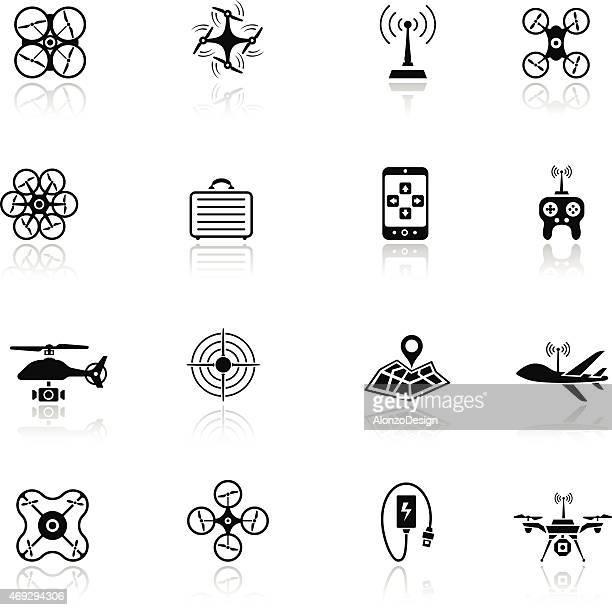 ilustraciones, imágenes clip art, dibujos animados e iconos de stock de quadcopter icono de - drone
