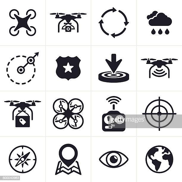 quadcopter icons and symbols - remote location stock illustrations