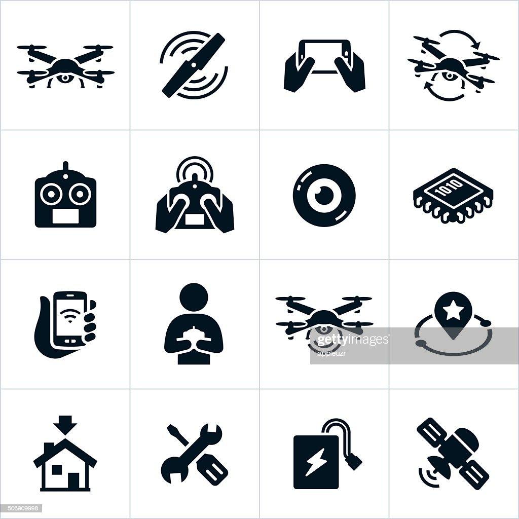 Quadcopter Icons : stock illustration