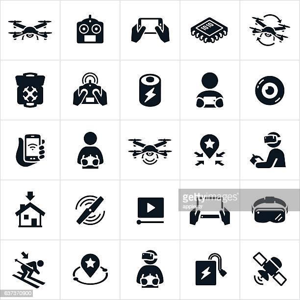 ilustraciones, imágenes clip art, dibujos animados e iconos de stock de quadcopter iconos - drone