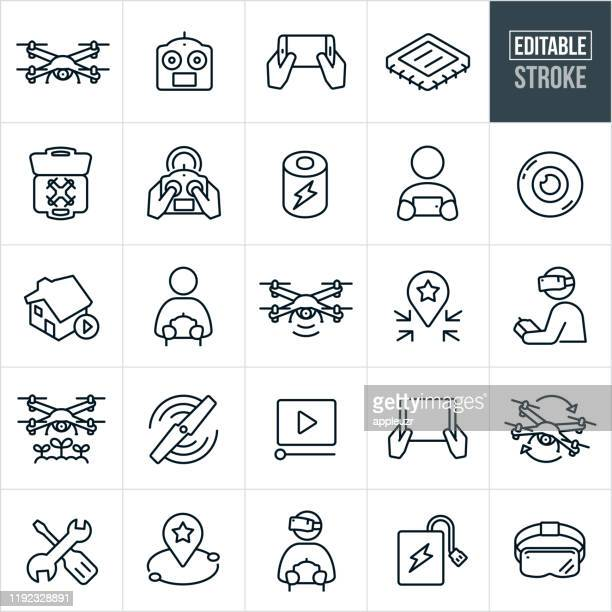 quadcopter thin line icons - editable stroke - drone stock illustrations