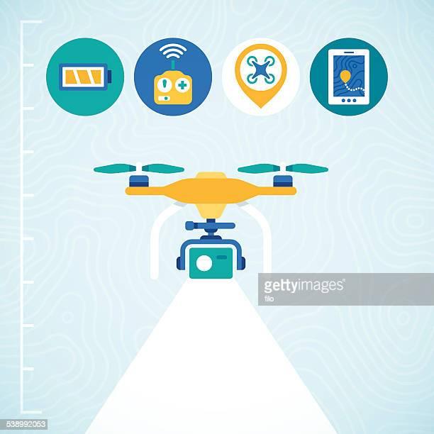 ilustraciones, imágenes clip art, dibujos animados e iconos de stock de quadcopter vista - drone