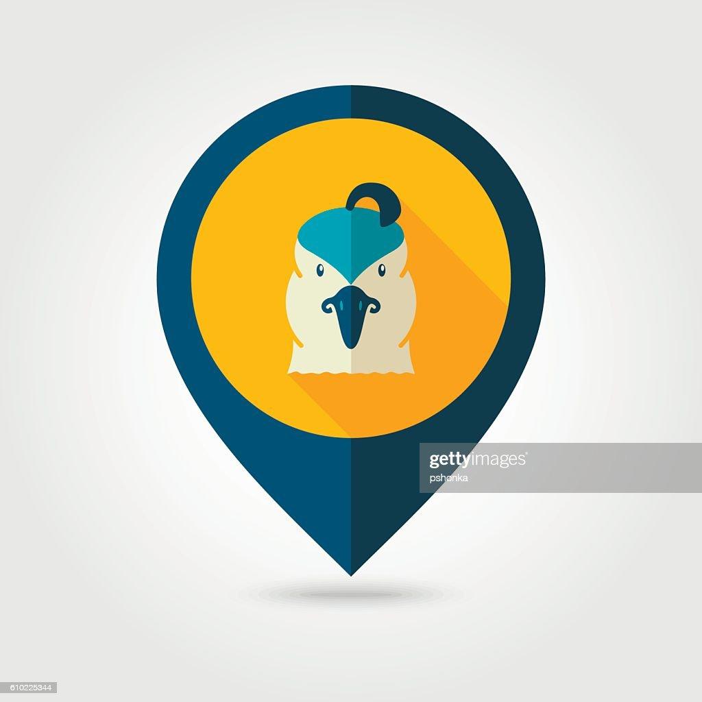 Quail flat pin map icon. Animal head vector symbol