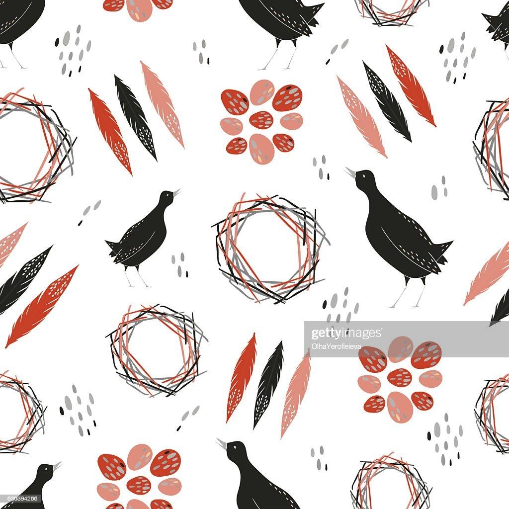 Quail seamless pattern.