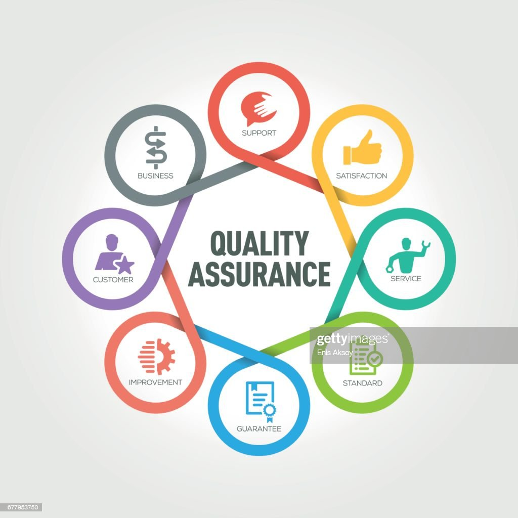 Quality Assurance infographic with 8 steps, parts, options : stock illustration