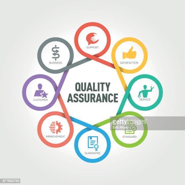 ilustraciones, imágenes clip art, dibujos animados e iconos de stock de infografía de aseguramiento de calidad con 8 pasos, partes, opciones de - calidad