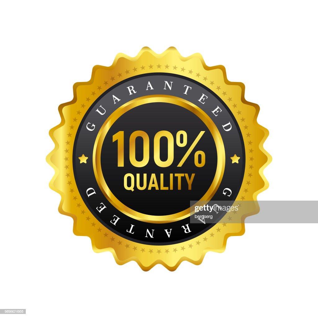 100% Quality Badge. Vector Icon : stock illustration