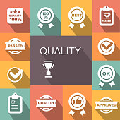 Quality control related vector icon set