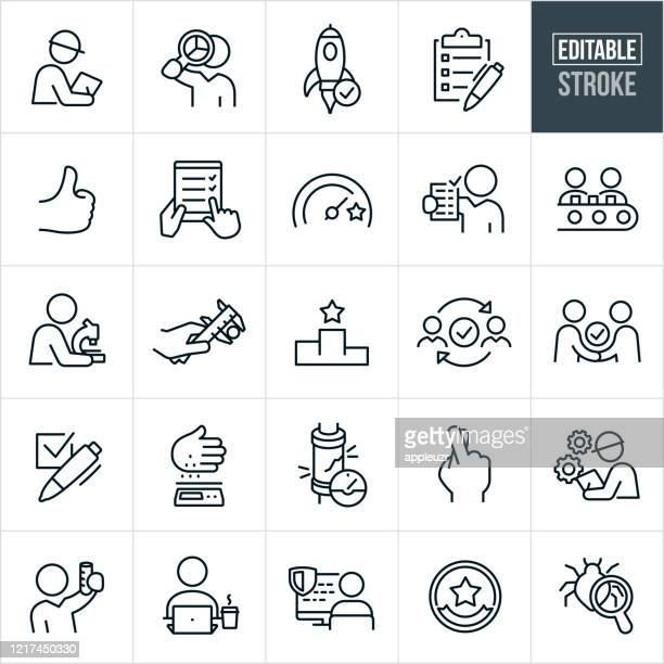 quality control thin line icons - editable stroke - scientific experiment stock illustrations