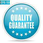 Quality guarantee blue glossy round vector icon in eps 10. Editable modern design internet button on white background.