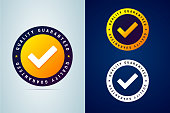 Quality guaranteed - tested badge. Vector illustration with check mark icon.