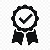 Quality icon, certified check mark ribbon label. Vector premium product certified or best choice recommended award and warranty approved certificate stamp