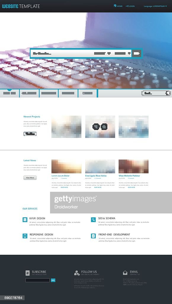 Quality One Page Website Template Vector Eps10,