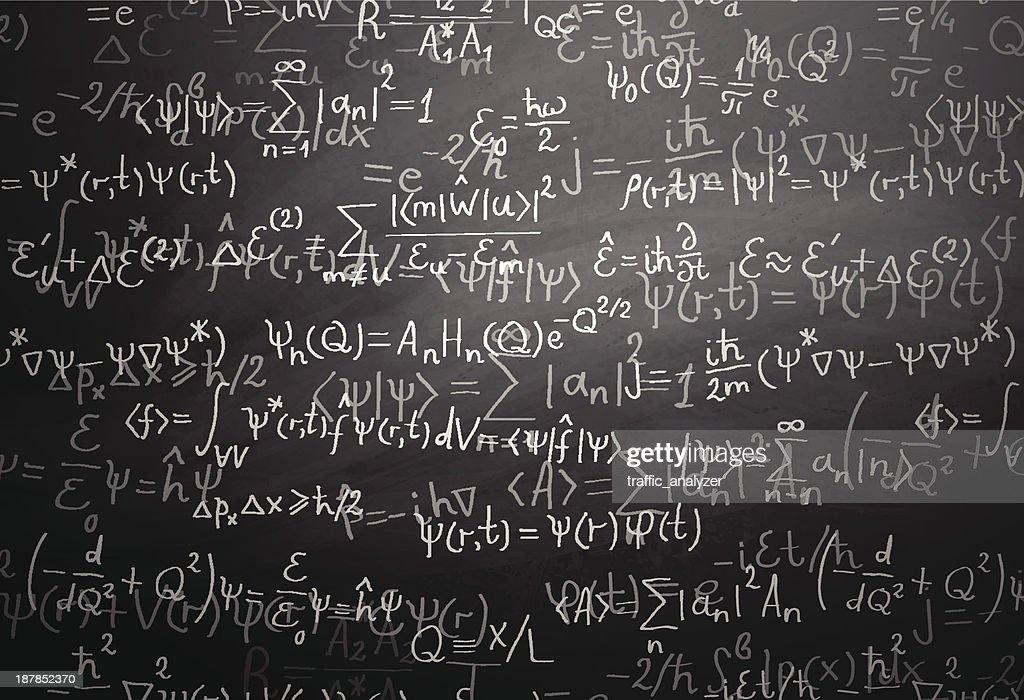 Quantum physics formulas over blackboard