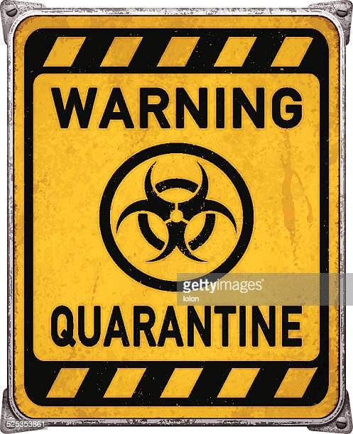 ilustraciones, imágenes clip art, dibujos animados e iconos de stock de el área de cuarentena metal cartel con symbol_vector de riesgo biológico - cuarentena