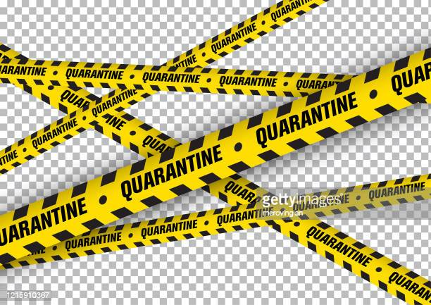 quarantine caution on yellow warning tape - quarantine stock illustrations