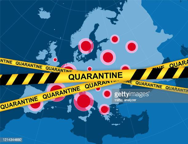 illustrazioni stock, clip art, cartoni animati e icone di tendenza di quarantena - mappa europa - la comunità europea